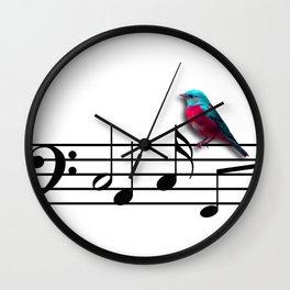 Bird on Music Sheet Wall Clock
