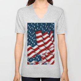 "ORIGINAL  AMERICANA FLAG ART ""STARS N' BARS"" PATTERNS Unisex V-Neck"