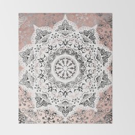 Dreamer Mandala White On Rose Gold Throw Blanket