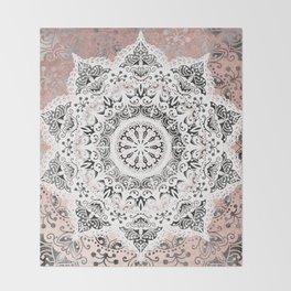 Dreamer Mandala White On Rose Gold Throw Blanket