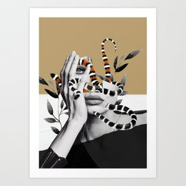 Woman and snakes Art Print