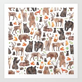 Woodland Animals Art Print