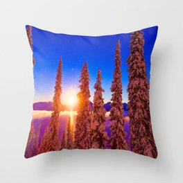 winter mountain sky forest gradient 0284 Throw Pillow