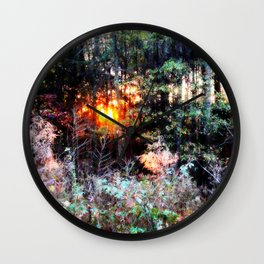 Sunset Forest : Where The Fairies Dwell Wall Clock