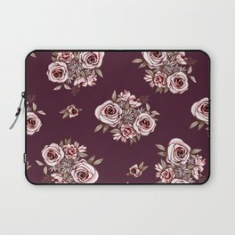 Burgundy Flower Pattern with Pink Flowers Laptop Sleeve