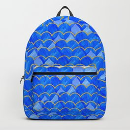 Blue, White & Gold Mermaid Backpack
