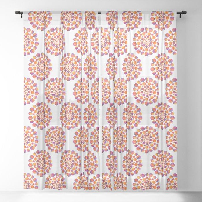 Circles Mandala - Orange Sheer Curtain