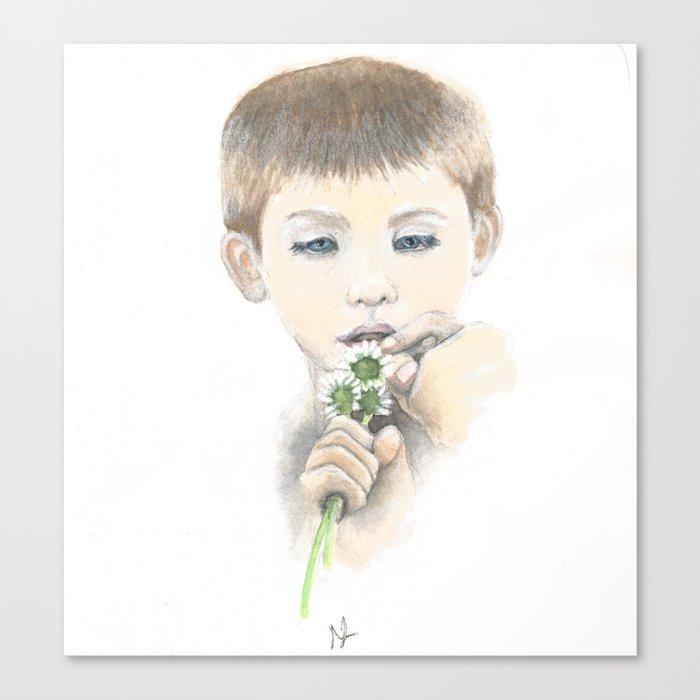 Little Boy With Daisies Canvas Print by scarletwild
