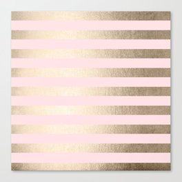 Stripes White Gold Sands on Pink Flamingo Canvas Print