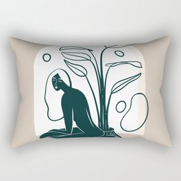 Woman and Vase with Plants Rectangular Pillow