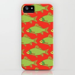 Green and Red Tropical Fish Shoal Pattern iPhone Case