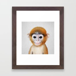 Baby Monkey - Colorful Framed Art Print