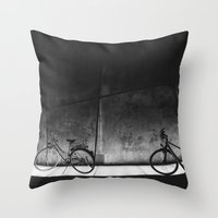 bicycles Throw Pillows featuring Bicycles by Tomas Hudolin