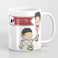 soccer Mugs featuring Soccer Skull by flydesign