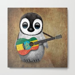 Baby Penguin Playing Ethiopian Flag Acoustic Guitar Metal Print
