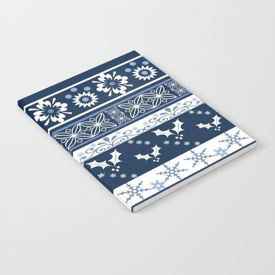 Retro . Christmas pattern . Blue background . Notebook