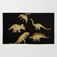 dinosaurs Area & Throw Rugs featuring Dinosaurs by chobopop