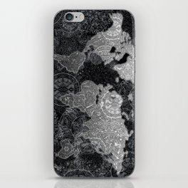 world map mandala black and white 3 iPhone Skin