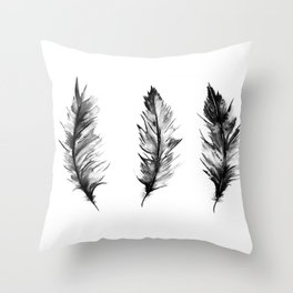 Watercolor Feathers Throw Pillow