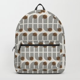 Rainbow arches & sun minimal black line art Backpack