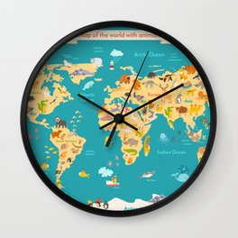 Animal map for kid. World vector poster Wall Clock