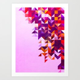 Colourful and Vibrant Geometric Nature on Ombre Pink Art Print
