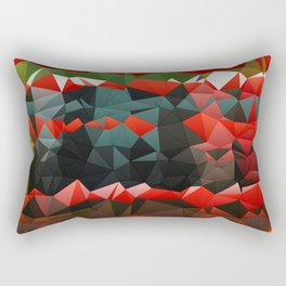Red Green Quilted Pattern Design Rectangular Pillow