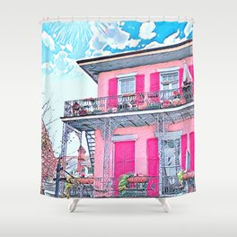 Watercolor Pink New Orleans French Quarter Nola Home Shower Curtain