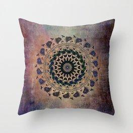 In the Air Mandala - Birds and Butterflies Throw Pillow