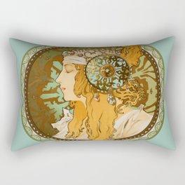 "Alphonse Mucha ""Byzantine Head: The Blonde"" edited Rectangular Pillow"