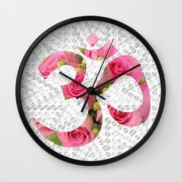 Aum Rose Silver Mandala Wall Clock
