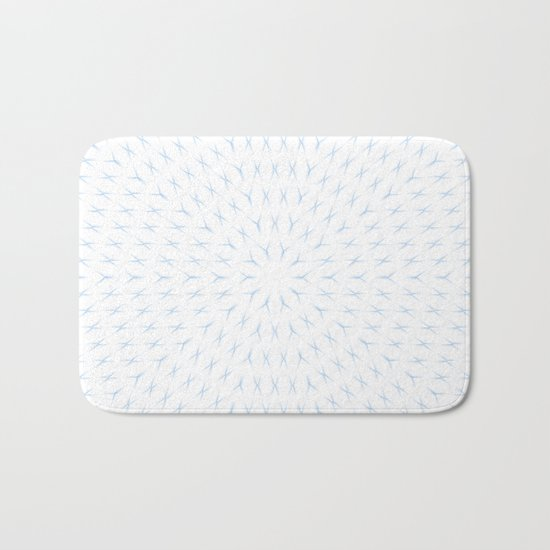 PCT2 Fractal in Ice Blue on White Bath Mat