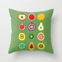 vector Throw Pillows featuring Banca de Frutas by Marcelo Romero