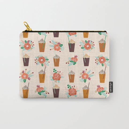 Coffee floral bouquet coffee lovers java bean cute pattern print for kitchen Carry-All Pouch