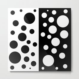 Black and White Spotted Design Metal Print