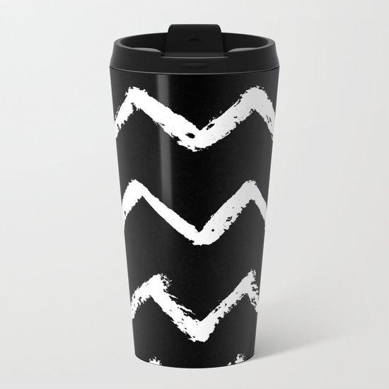 Chevron Stripes White on Black Metal Travel Mug