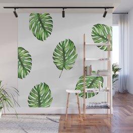 Monstera green leaves Wall Mural