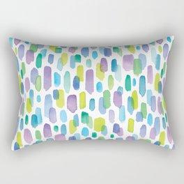 Watercolor Brushstrokes - Blue, Green, Teal, Purple Rectangular Pillow