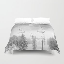 Chairlift Moon Break // Riding the Mountain at Copper Colorado Luna Sky Peeking Foggy Clouds Duvet Cover