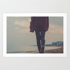 beach walker Art Print
