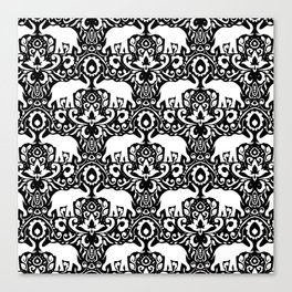 Elephant Damask Black and White Canvas Print