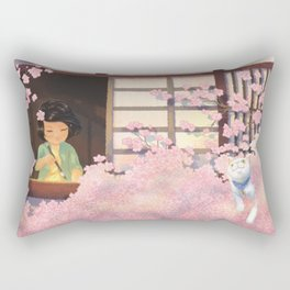 Hanami Cat in Sakura Tree Rectangular Pillow