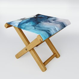 White Sand Blue Sea - Alcohol Ink Painting Folding Stool
