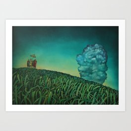Cluster in the bluster Art Print
