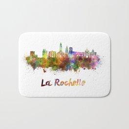 La Rochelle skyline in watercolor Bath Mat