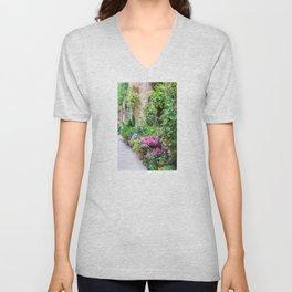 Flower-Lined Street Unisex V-Neck