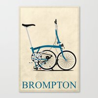 brompton Canvas Prints featuring Brompton Bike by Wyatt Design