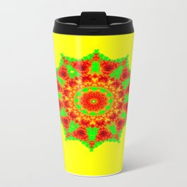 Lovely Healing Mandalas in Brilliant Colors: Red, Yellow, and Green Metal Travel Mug