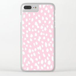 Dalmation in pink and white Clear iPhone Case