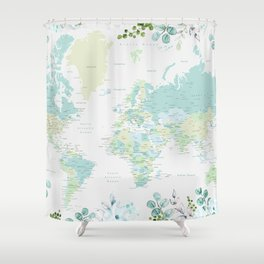 Mint and green floral world map with cities Shower Curtain